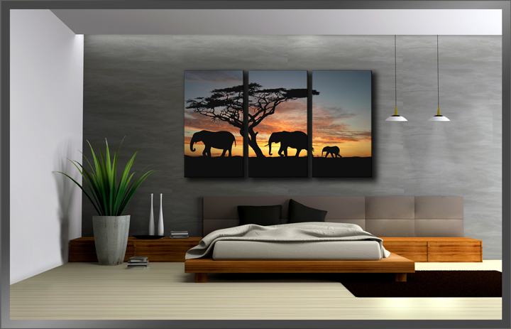 afrika elefanten sonnenuntergang. Black Bedroom Furniture Sets. Home Design Ideas