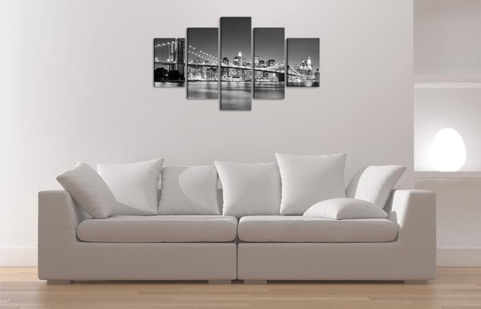 new york bei nacht schwarz weiss. Black Bedroom Furniture Sets. Home Design Ideas