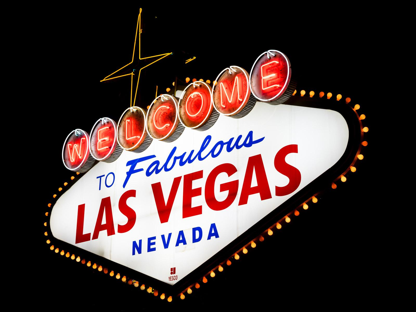 Welcome to fabulous Las Vegas Schild bei Nacht
