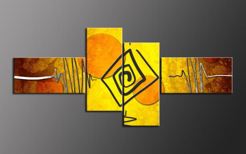 Abstrakte kunst orange gelb - Leinwandbilder moderne kunst ...