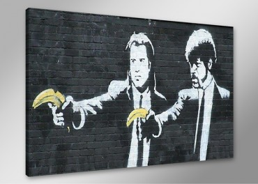 Banksy Graffiti Pulp Fiction mit Bananen