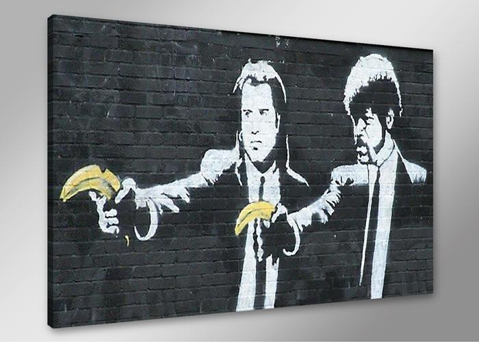 banksy graffiti pulp fiction mit bananen. Black Bedroom Furniture Sets. Home Design Ideas