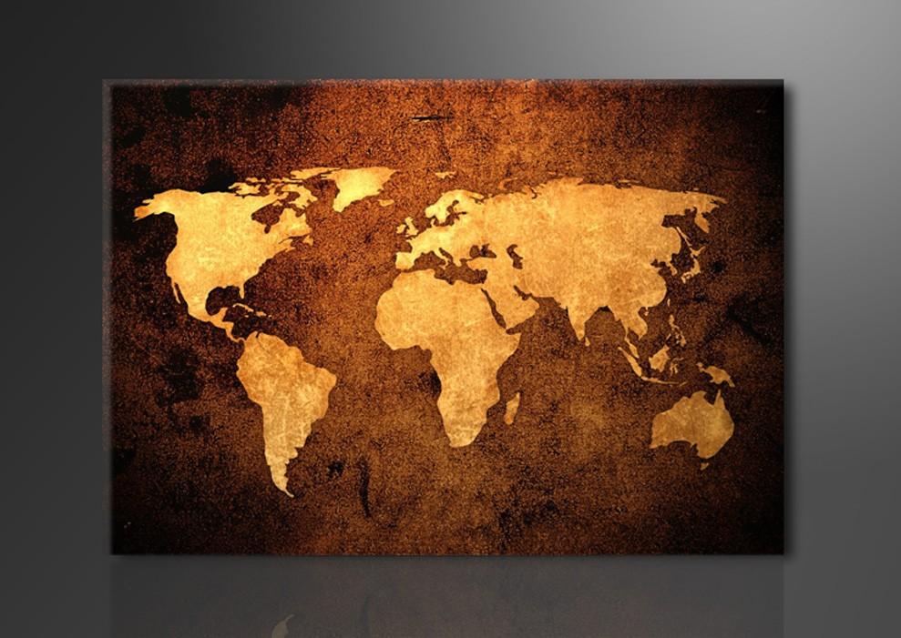 Weltkarte 1 teilig - Weltkarte bild leinwand ...
