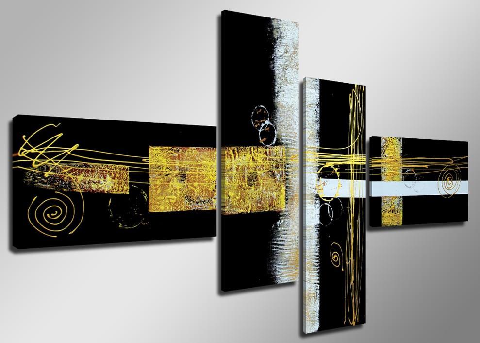 Abstrakt schwarz gelb weiss - Leinwandbilder mehrteilig ...