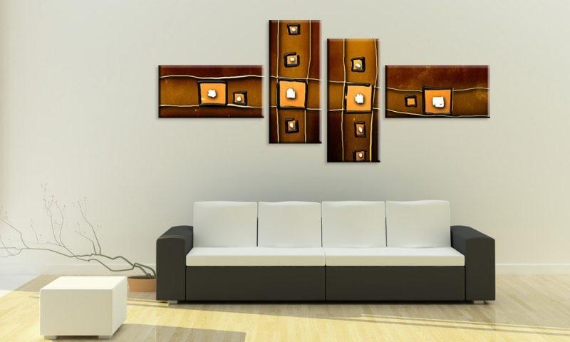 Verwackelte quadrate braun for Bilder wohnzimmer abstrakt