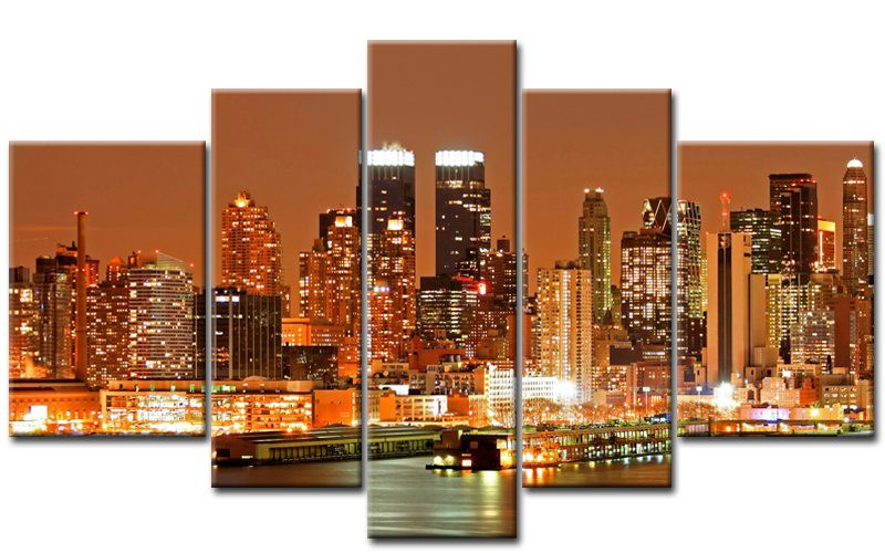 new york skyline orange. Black Bedroom Furniture Sets. Home Design Ideas